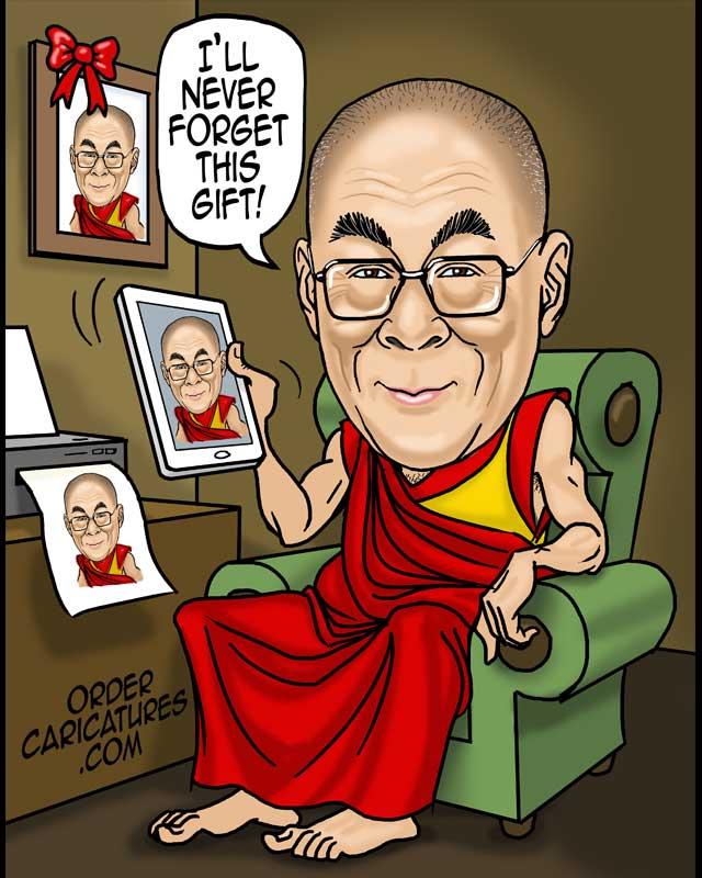 Dalai Lama caricature by Luis Arriola