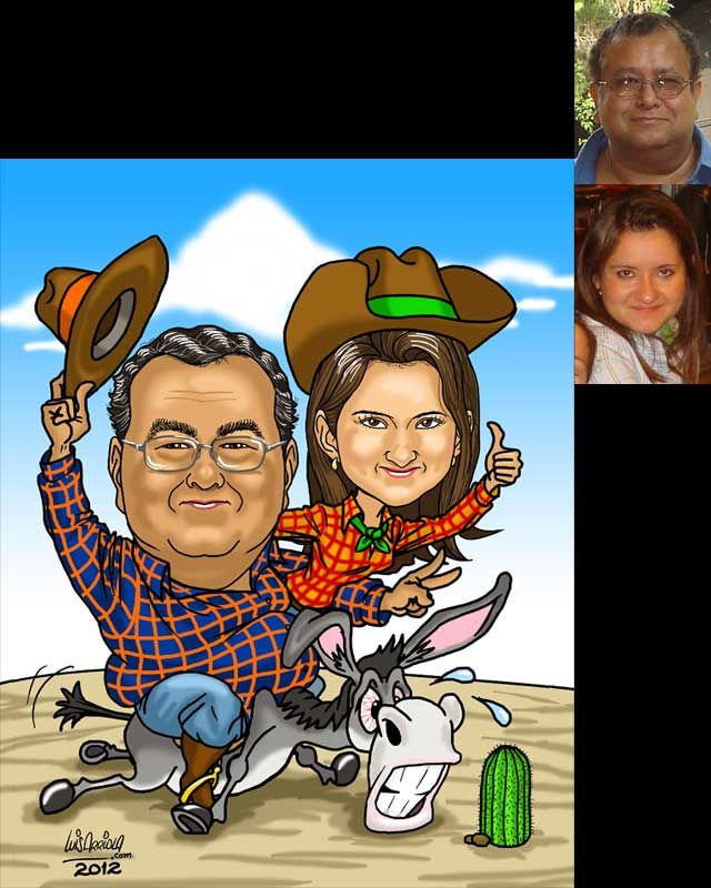 donkey cowboys caricature by luis arriola