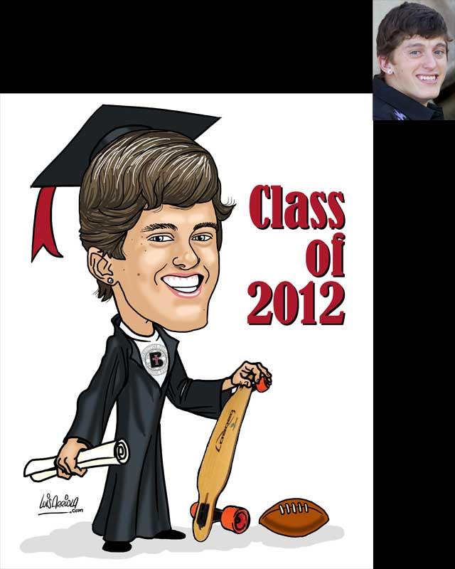 graduation caricature by Luis Arriola