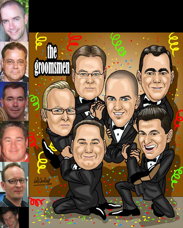 familiy / friends group caricature by luis arriola