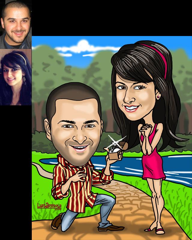 engagement caricature by luis arriola
