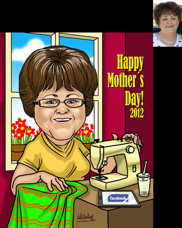 mothers day caricature by luis arriola
