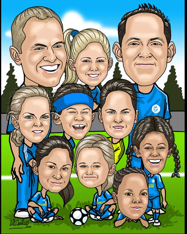 familiy / friends group caricature by luis arriola
