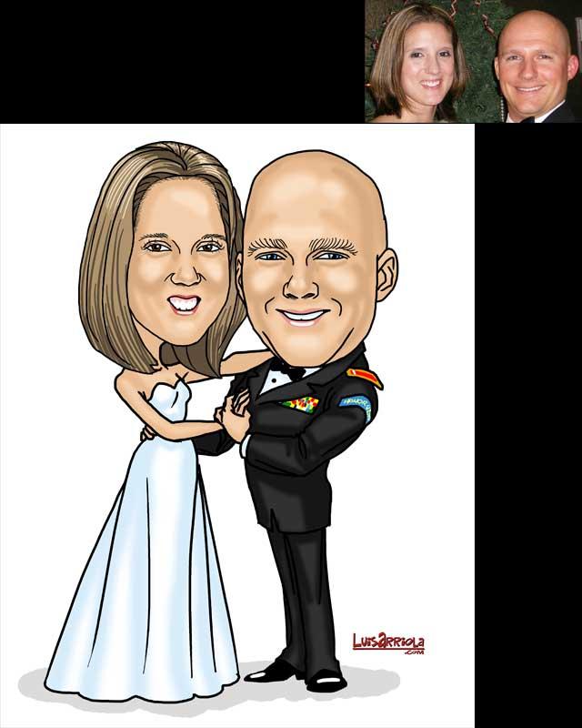 bride and groom wedding caricature by luis arriola