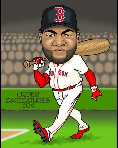 Big Papi David Ortiz caricature by Luis Arriola