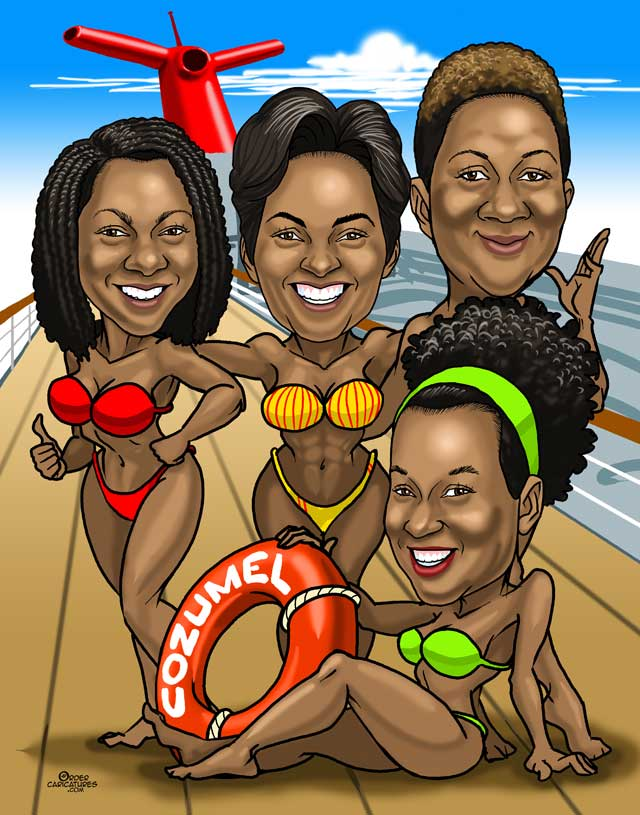 bridesmaids group caricature