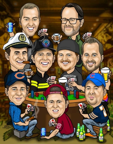 best men group caricature