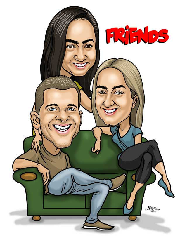 friends group caricature