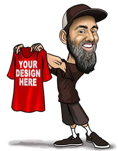 guy with tshirt caricature