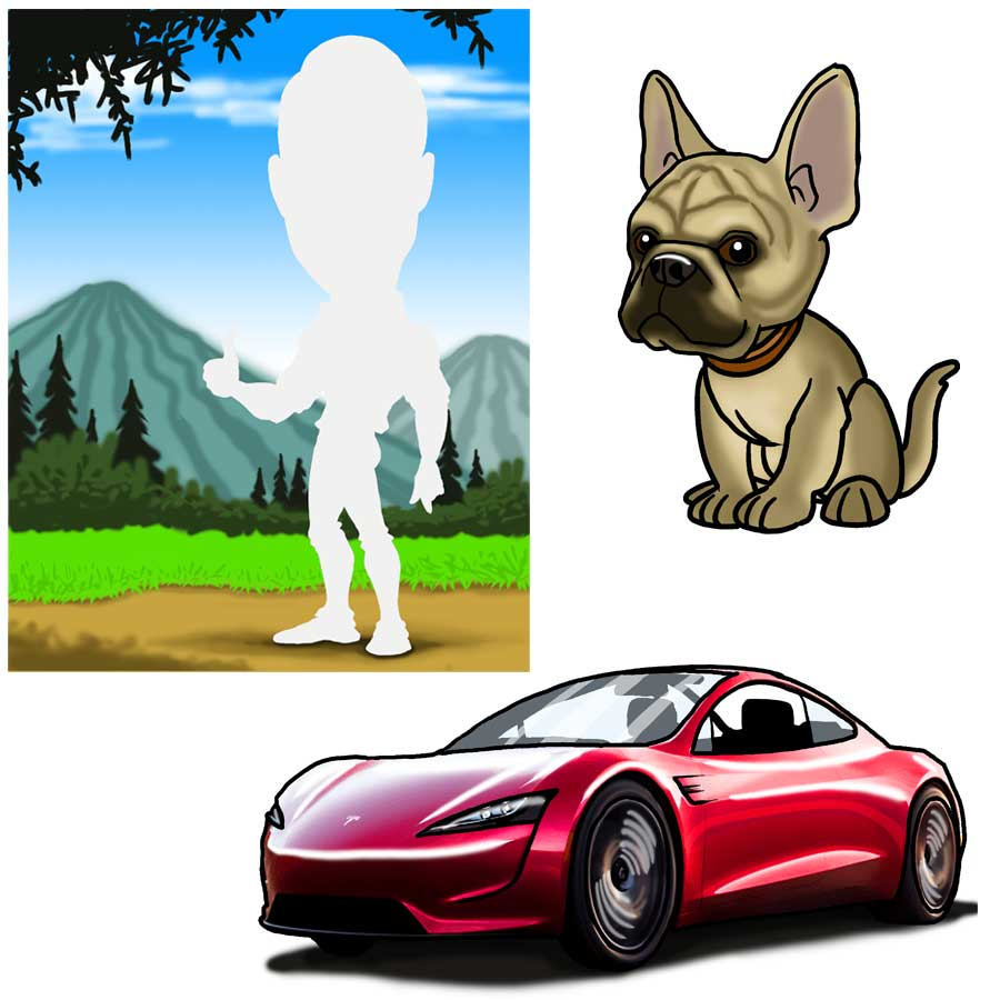 add-pets-vehicles-bg-caricature